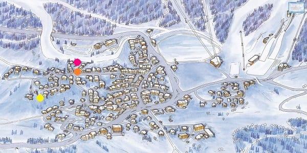 Le Praz village map Chalet Igloo, Pure, Loup Blanc