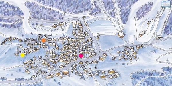 Courchevel LE Praz village map chalets